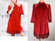 New KEROL D Beatrice Velvet Lace Fringe Flapper Boho Dress Red Free XS S  M  #B