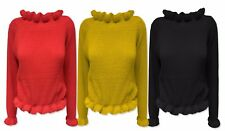 Womens Ladies Ruffle Frill Edge Chunky Knitted Trendy Cropped Jumper Top Xmas
