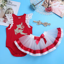New Christmas Infant Baby Girl glitter running Romper deer Tutu Dress Outfit Set