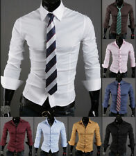 Fashion Dress Shirts Hot Slim Fit Luxury Stylish Mens Casual Long Sleeve E0313