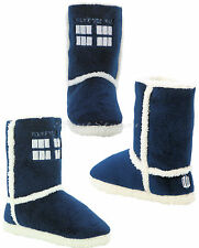 BBC Doctor Who Tardis PLUSH Boots Slippers House Shoes Dr Whoovian Licensed NWT