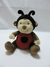 "Just One You Ladybug Monkey Plush Stuffed Animal 7"" Toy Brown Red Black Soft"