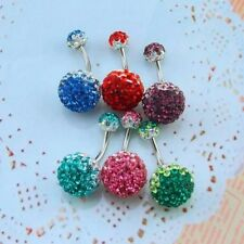 Crystal belly ring belly button rings surgical steel piercing belly navel ring