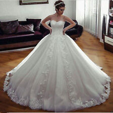 White Ivory Lace Bridal Ball Gown Wedding Dress Custom Size 6 8 10 12 14 16 18 +