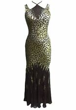 ANNEF Silk Satin Burnout Gold Black Hand Beaded Cocktail Party Evening Dress