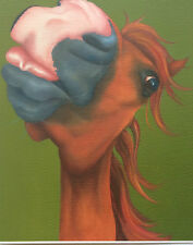 chestnut horse pony painting fine art giclee print by artist Lizzie Hall