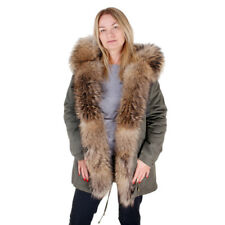 Long Military Parka With Hood and Front of Raccoon Fur! Jacket Coat Real Fur FOX