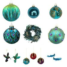 Peacock Christmas Decorations Baubles - Gisela Graham - Bauble Shatterproof Xmas