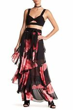 TOV HOLY Tiered Floral Maxi Skirt - Red/Black NWT Sizes  S,M,L & XL