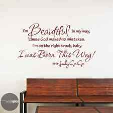 Lady Gaga Beautiful In My Way Baby I Was Born This Way Vinyl Wall Decal Sticker