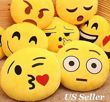 "Yellow Emoji Pillow13"" Round Cushion Soft Emoticon Stuffed Plush Toy Doll PoUB"