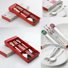 Stainless Steel Cutlery Camping Set Portable Travel Chopsticks Spoon Fork