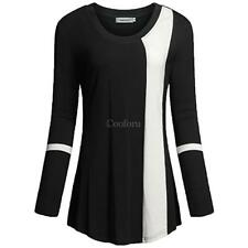 Women Round Neck Long Sleeve Contrast Color Patchwork Basic T-Shirt CO99 01