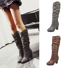 Women Ladies PU Leather Mid-Calf Boots High Heel Under the Keen Boots Shoes Size