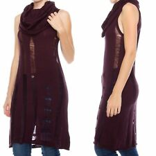 Burgundy Cowl Neck Sweater Women Size S M L Destroyed Tunic Mulberry Sleeveless