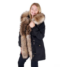 Black Parka With Hood and Front of Raccoon Fur Military Jacket Coat Real Fur FOX