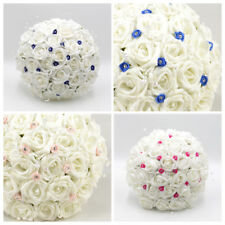 Artificial Wedding Flowers Foam Brides Bouquet Posy in 11 Colours Diamanté Roses