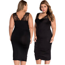 Black plus size slinky lace ruched evening dress formal cocktail women mid-calf