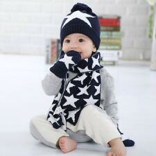 3pcs Baby Hats Baby Mittens Baby Girl Boys Winter Warm Knit Hat+Scarf+Gloves Set