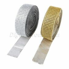 Sparkle 10 Yard Ribbon Crystal Diamond Rhinestone Roll Mesh Wrap Festive Decor