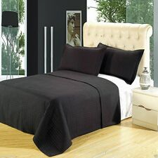 Luxury Black Checkered Quilted Microfiber Coverlet Bedspread AND Shams