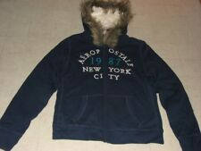 Aeropostale Womens Navy Faux Fur Hoodie Zip Cotton Jacket Sz S/M - NWT $89.50