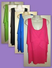 Womans Plus 4X Tiered Layered Cotton Blend Stretchy Knit Tank New in Package