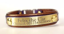 Leather Cat Collar Personalized Breakaway Buckle Engraved Nameplate