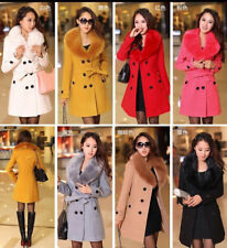 NEW Women's Double-Breasted Wool Blend Jacket Fur Collar Slim Trench Long Coat