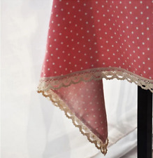 Red White Dots Bar Coffee Table Cotton Linen Cloth Cover oUSr