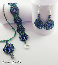 Combine Your SET Silver & Crystals HANDMADE Beaded Earrings Bracelet Necklace