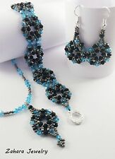 Combine Your SET, Silver & Crystals HANDMADE Beaded Earrings Bracelet Necklace