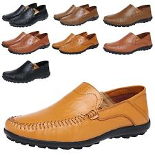 Lace Up Slip On Mens Breathing Real Leather Moccasins Shoes UK 5-13