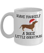 Dachshund Christmas Mug - Wiener Dog Coffee Cup Gift For Doxie Owners & Lovers