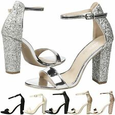 Lila Womens High Block Heel Peep Toe Ankle Strap Sandals Ladies Party Shoes Size