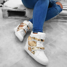 WOMEN'S HIDDEN WEDGE HEEL HIGH-TOP ANKLE SNEAKERS WHITEsizes@@ *)_)_