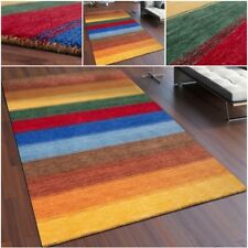 Natural Indian Gabbeh Rug Colourful Stripes 100% High Quality Wool Area Carpet