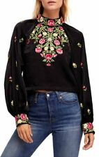 NEW Free People Jessica Blouse Black Boho Floral Embroidery Trendy Size XS-L