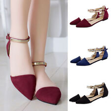 AU Womens Pointed Toe Ankle Strap Flat Heel Sandals Ballet Casual Shoes Flats