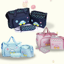 4 Pcs/Set Baby Diaper Nappy Bag Mummy Women Changing Mat +Bottle Holder Handbag