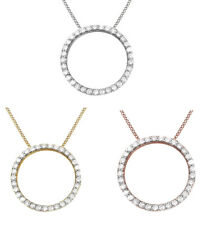 Cubic Zirconia Eternity Circle Love Pendant in 14k Gold Over Sterling Silver
