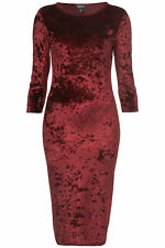Topshop Crushed Velvet Midi Bodycon Dress - Wine Red UK 6 8 10 12 14 16 18 BNWOT