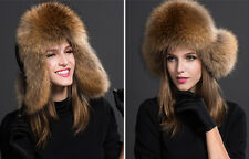 Womens Ladies Real Fox Fur Hat Russian Ushanka Lamb Leather Top Warm Winter hy8