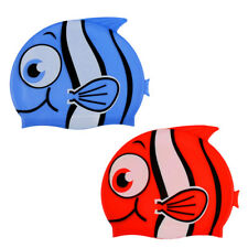 Kids Silicone Swim Cap Cute Fish Cartoon Children Bathing Swimming Cap