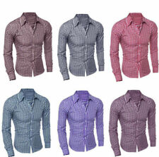 Luxury Stylish Mens Long Sleeve Casual Check Shirt Slim Fit Dress Shirts Tops w