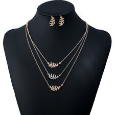 AL_ Multi-layer Metal Leaf Feather Pendant Necklace Earrings Jewelry Set Eyeful