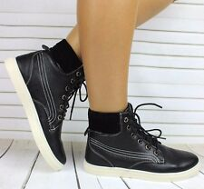 NEW LADIES FLAT LACE UP HI HIGH TOP ANKLE TRAINERS BOOTS SHOES SNEAKERS SIZE 5
