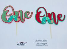 CAKE TOPPER one 1 1st BIRTHDAY PARTY THE VERY HUNGRY CATERPILLAR THEME GREEN RED