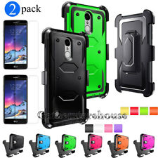 For LG Aristo/Phoenix 3 Hybrid Rugged Hard Case Belt Clip Cover + Tempered Glass