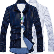 Business Men Casual Shirt Long Sleeve Button Tops Slim Fit Dots Printing Fashion